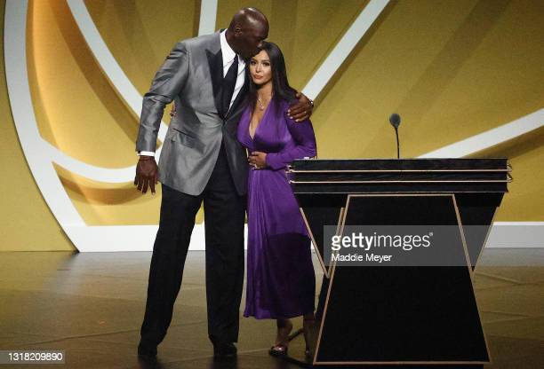 Vanessa Bryant is greeted by presenter Michael Jordan after speaking on behalf of Class of 2020 inductee, Kobe Bryant during the 2021 Basketball Hall...
