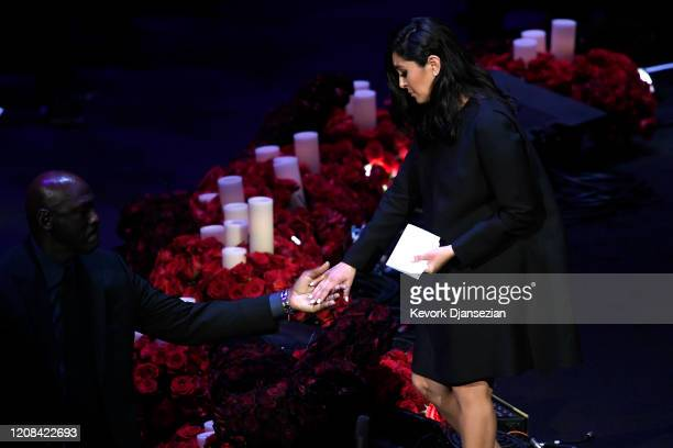 Vanessa Bryant is helped off stage by Michael Jordan during The Celebration of Life for Kobe Gianna Bryant at Staples Center on February 24 2020 in...