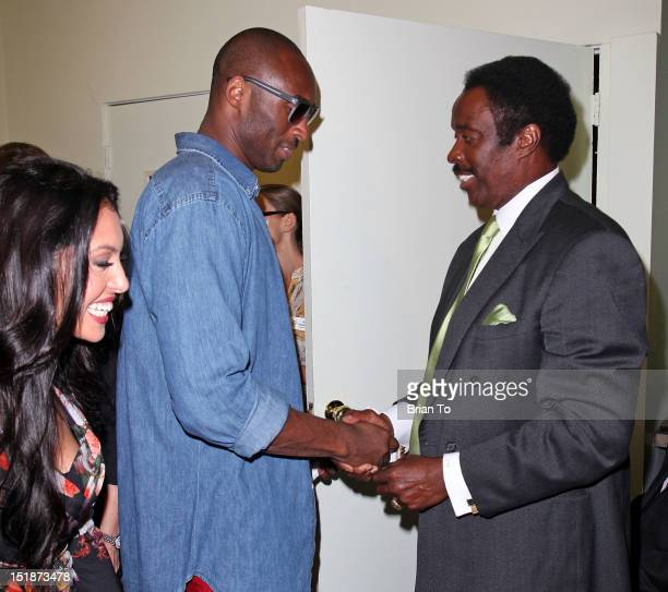 Vanessa Bryant Kobe Bryant and Jim Hill attend Kobe and Vanessa Bryant Family Foundation press conference at My Friend's Place on September 12 2012...