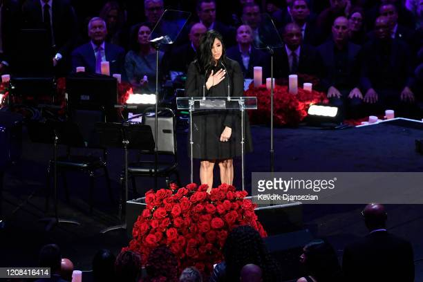 Vanessa Bryant speaks during The Celebration of Life for Kobe Gianna Bryant at Staples Center on February 24 2020 in Los Angeles California