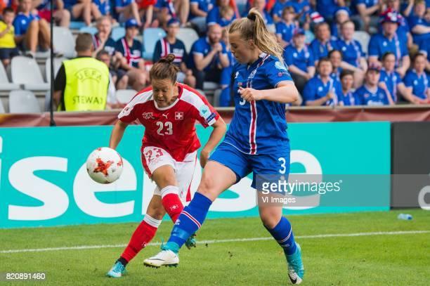 Vanessa Burke of Switzerland women Ingibjorg Sigurdardottir of Iceland women during the UEFA WEURO 2017 Group C group stage match between Iceland and...