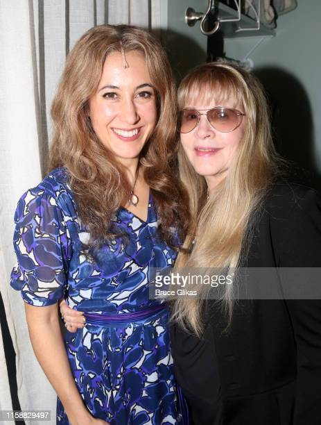 Vanessa Carlton as Carole King and Stevie Nicks pose backstage at the hit musical Beautiful The Carole King Musical on Broadway at The Stephen...
