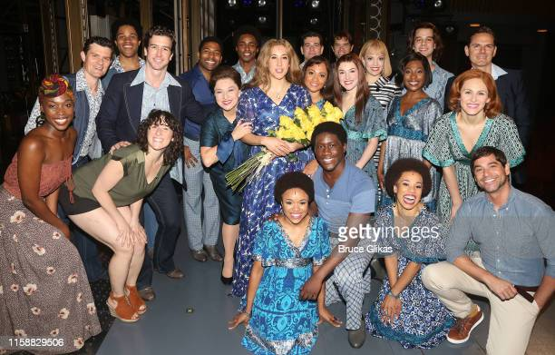 Vanessa Carlton as Carole King and Stevie Nicks pose with the cast backstage at the hit musical Beautiful The Carole King Musical on Broadway at The...