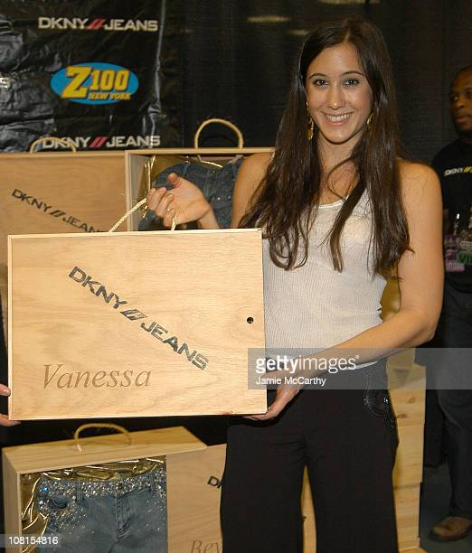 Vanessa Carlton with DKNY Jeans Customized Jeans during Z100's Jingle Ball 2004 Artist Gift Lounge by On 3 Productions at Madison Square Garden in...
