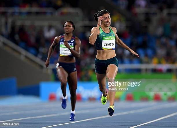 Vanessa Chefer of Brazil competes in the Women's Heptathlon 200m on Day 7 of the Rio 2016 Olympic Games at the Olympic Stadium on August 12 2016 in...