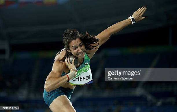 Vanessa Chefer of Brazil competes in the Women's Heptathlon Shot Put on Day 7 of the Rio 2016 Olympic Games at the Olympic Stadium on August 12 2016...