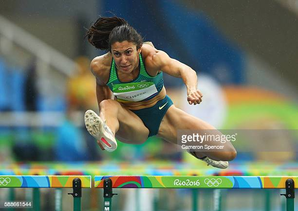 Vanessa Chefer of Brazil competes in Women's Heptathlon 100 Meter Hurdles on Day 7 of the Rio 2016 Olympic Games at the Olympic Stadium on August 12...