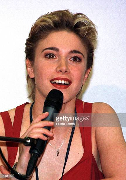 Vanessa Chinitor singer representing Belgium for the Eurovision Song Contest 1999 attends a press conference in Jerusalem Monday May 24 1999 Chinitor...