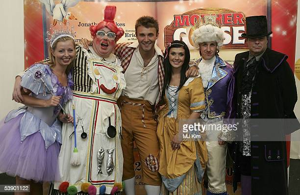 Vanessa Clark Eric Potts Jonathan Wilkes Kym Marsh Andy Goulding and Shane Connor pose at the press launch for Regent's annual pantomime Mother Goose...