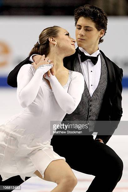 Vanessa Crone and Paul Poirier of Canada compete in the Ice Dance Short Dance during Skate America at Rose Garden Arena on November 13, 2010 in...