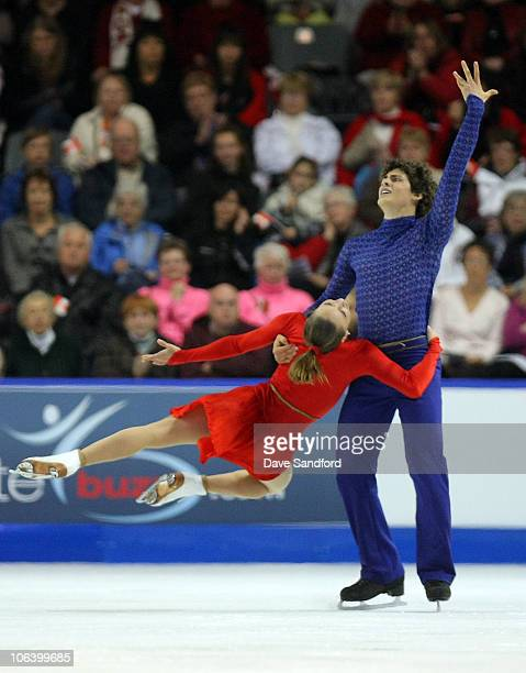 Vanessa Crone and Paul Poirier of Canada skate to a 1st place finish in Ice Dance Free Dance during 2010 Skate Canada International at the K-Rock...