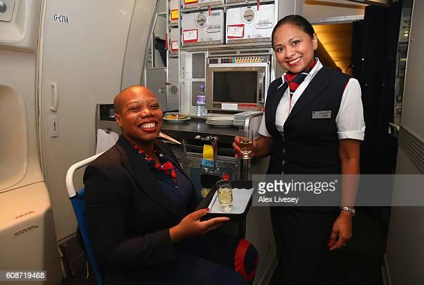 Vanessa Daobry of the Paralympics GB Team dresses in British Airways cabin crew uniform to serve drinks onboard the British Airways flight BA2016...