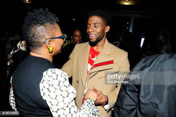 Vanessa Deluca and Chadwick Boseman attend The Cinema Society with Ravage Wines Synchrony host the after party for Marvel Studios' 'Black Panther' at...