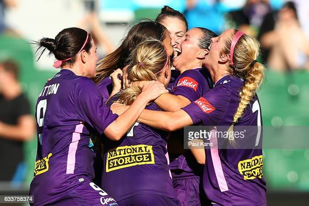 Vanessa DiBernardo of the Glory celebrates a goal during the WLeague Semi Final match between the Perth Glory and Sydney FC at nib Stadium on...