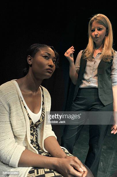 Vanessa Donovan as Hermione St.Cloud and Liza Binkley as Elizabeth Granger in Presidential Suite written and directed by John Binkley at C Venue as...