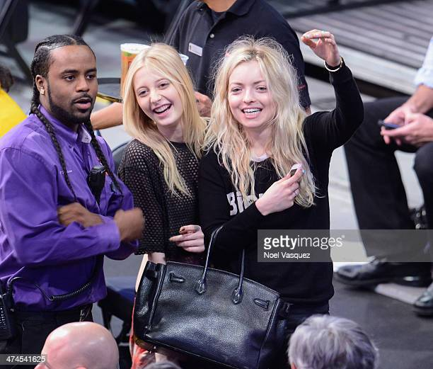 Vanessa DuBasso and Francesca Eastwood attend a basketball game between the Brooklyn Nets and the Los Angeles Lakers at Staples Center on February 23...