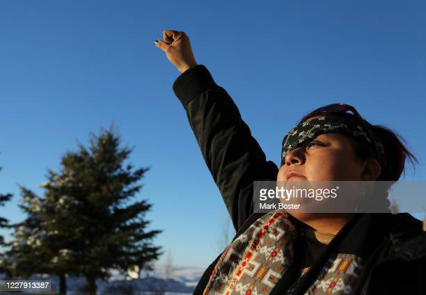 Vanessa Dundon, asked that her picture be taken with a fist in the air that she says is symbolic of her protest at Standing Rock. The Navajo woman...