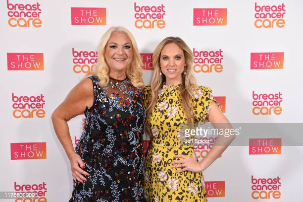 Vanessa Feltz and Allegra Kurer attend the Breast Cancer Care London Fashion Show at Park Plaza Westminster Bridge Hotel on October 03 2019 in London...