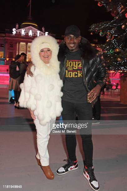Vanessa Feltz and Ben Ofoedu attend the opening party of Skate at Somerset House on November 12 2019 in London England Celebrating its 20th...