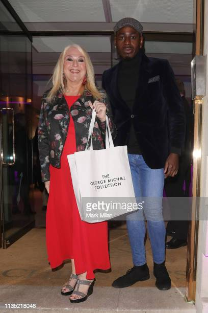 Vanessa Feltz and Ben Ofoedu leaving Christies auction house after attending The George Michael Collection viewing on March 11 2019 in London England