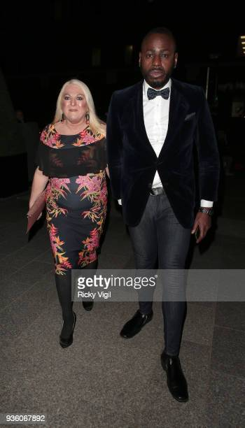 Vanessa Feltz and Ben Ofoedu seen attending OK Magazine's 25th anniversary party at The View from the Shard on March 21 2018 in London England