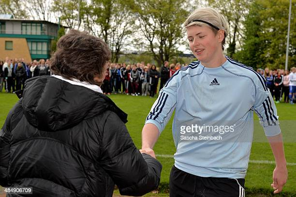 Vanessa Fischer of Brandenburg is honored as the best goalkeeper after the U16 Girl's Federal Cup at Sportschule Wedau on April 15 2014 in Duisburg...