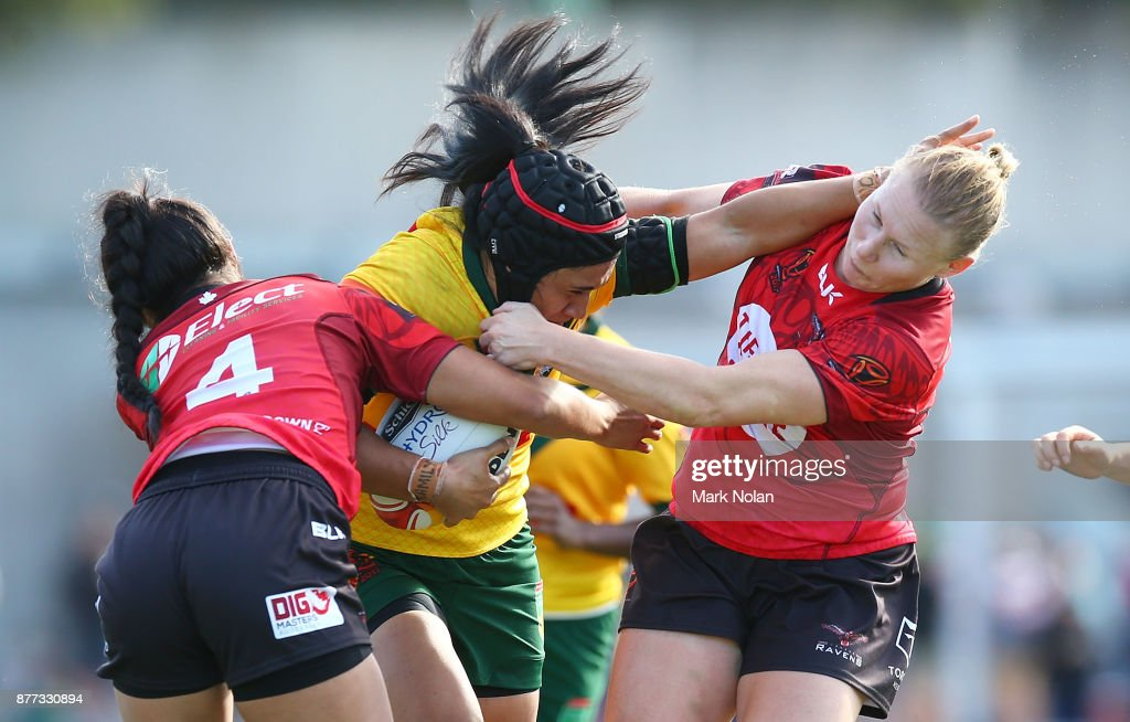 Vanessa Foliaki of Australia is tackled during the Women's Rugby League World Cup match between the Canadian Ravens and the Australian Jillaroos at Southern Cross Group Stadium on November 22, 2017 in Sydney, Australia.