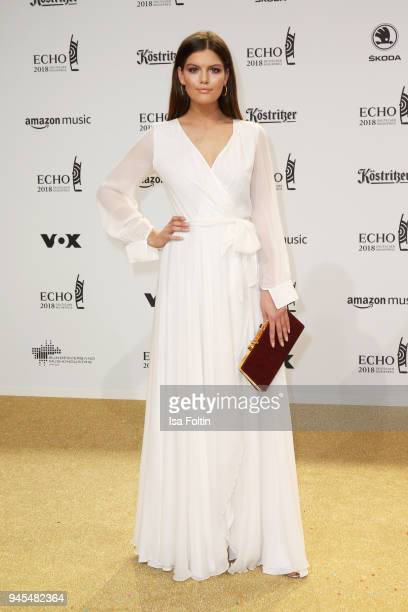 Vanessa Fuchs arrives for the Echo Award at Messe Berlin on April 12 2018 in Berlin Germany