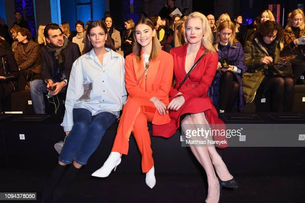 Vanessa Fuchs Stefanie Giesinger and Franziska Knuppe attend the MercedesBenz Presents Amesh Wijesekera show during the Berlin Fashion Week...