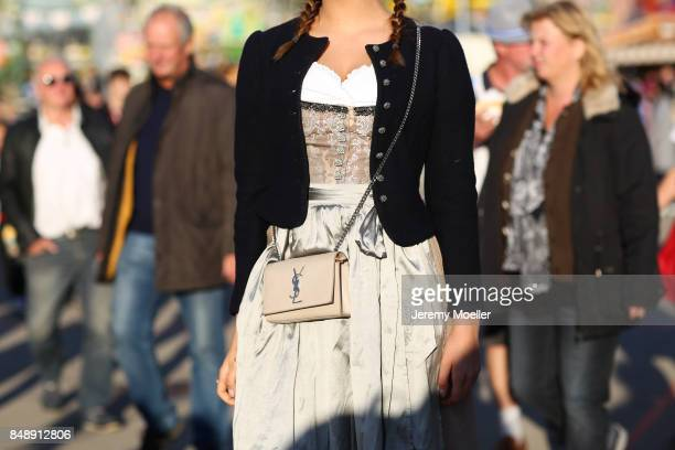 Vanessa Fuchs wearing a Riani dirndl and a Julia Trentini Jacket at Theresienwiese on September 17 2017 in Munich Germany