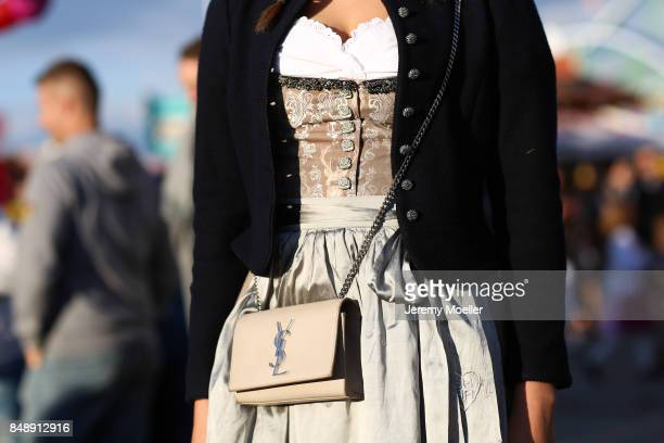 Vanessa Fuchs wearing a Riani dirndl and Julia Trentini Jacket at Theresienwiese on September 17 2017 in Munich Germany