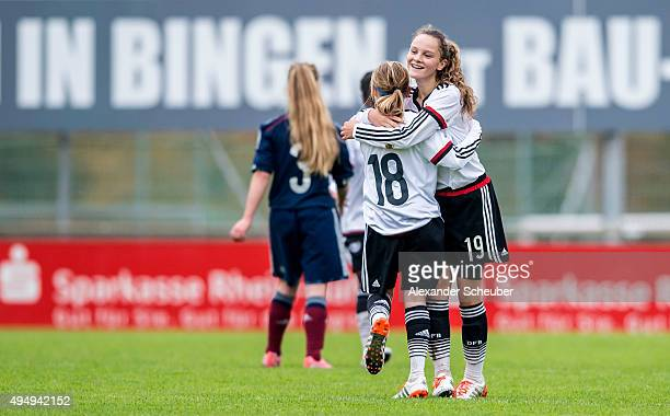 Vanessa Fudalla of Germany celebrate the victory with Sanja Homann of Germany during the international friendly match between U15 Girl's Germany and...