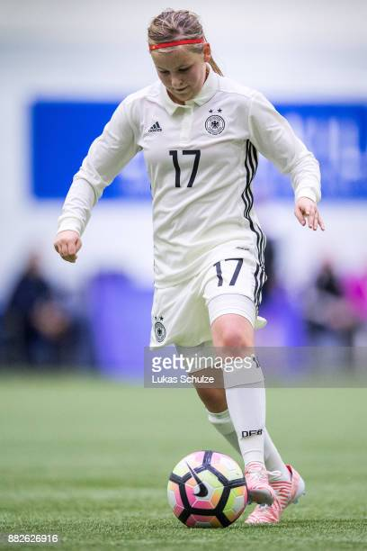 Vanessa Fudalla of Germany in action during the U17 Girls friendly match between Finland and Germany at the Eerikkila Sport Outdoor Resort on...