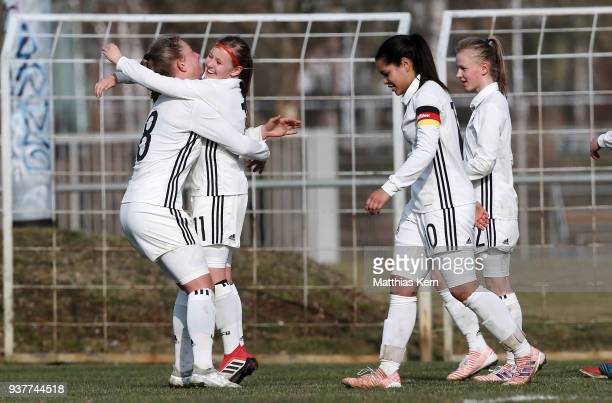 Vanessa Fudalla of Germany jubilates with team mates after scoring the third goal during the UEFA U17 Girl's European Championship Qualifier match...