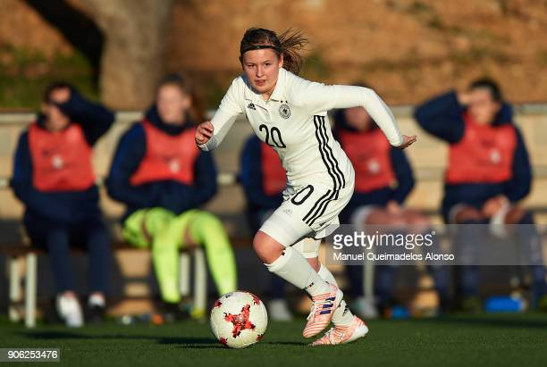 Vanessa Fudalla of Germany runs with the ball during the international friendly match between U17 Girl's Germany and U17 Girl's England at Complex...