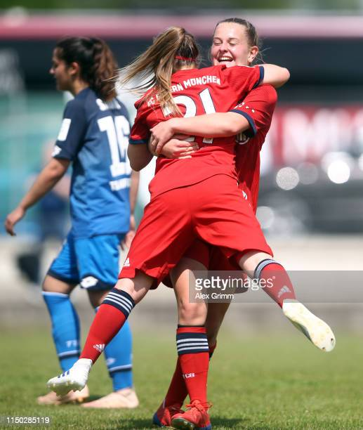 Vanessa Fudalla of Muenchen celebrates her team's first goal with team mate Leonie Koester during the 2 Frauen Bundesliga match between TSG 1899...