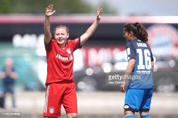 Vanessa Fudalla of Muenchen celebrates her team's second goal during the 2 Frauen Bundesliga match between TSG 1899 Hoffenheim II and FC Bayern...
