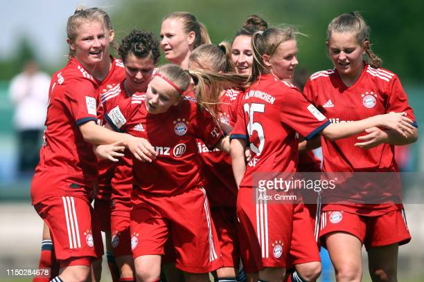 Vanessa Fudalla of Muenchen celebrates her team's second goal with team mates during the 2 Frauen Bundesliga match between TSG 1899 Hoffenheim II and...