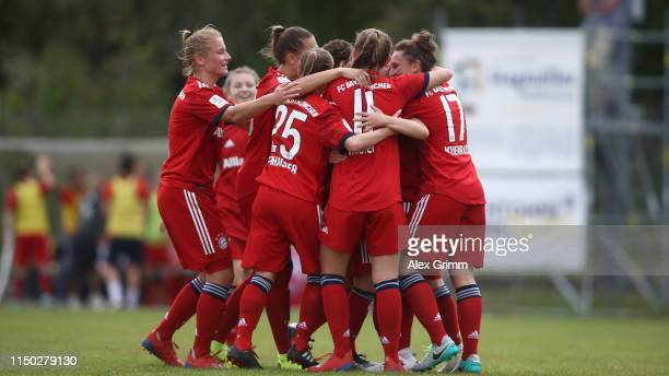 Vanessa Fudalla of Muenchen celebrates his team's first goal with team mates during the 2 Frauen Bundesliga match between TSG 1899 Hoffenheim II and...
