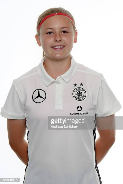 Gruenberg GERMANY AUGUST 20 Vanessa Fudalla poses during Germany U17 Girl's Team Presentation on August 20 2017 in Gruenberg Germany