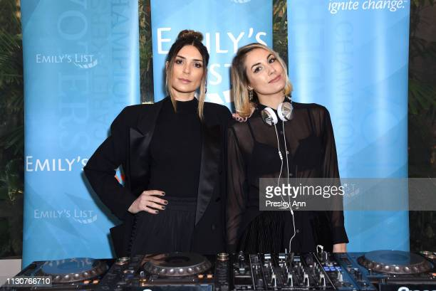 Vanessa Giovacchini and Marylouise Pels DJ during Raising Our Voices Supporting More Women in Hollywood Politics at Four Seasons Hotel Los Angeles in...