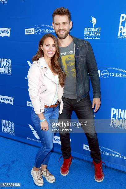 Vanessa Grimaldi and Nick Viall at Clayton Kershaw's 5th Annual Ping Pong 4 Purpose Celebrity Tournament at Dodger Stadium on July 27 2017 in Los...