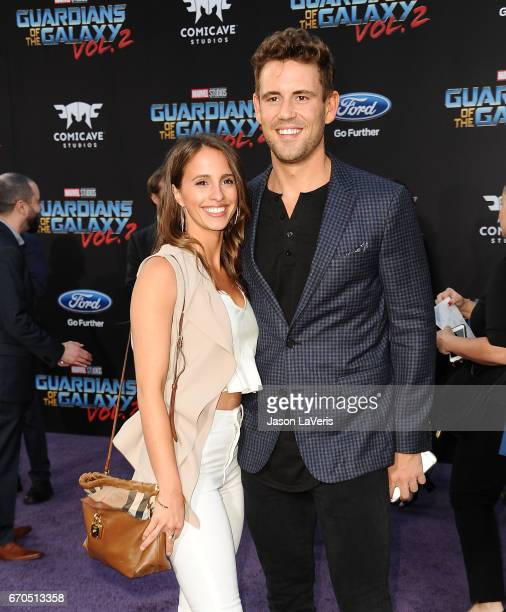 Vanessa Grimaldi and Nick Viall attend the premiere of 'Guardians of the Galaxy Vol 2' at Dolby Theatre on April 19 2017 in Hollywood California