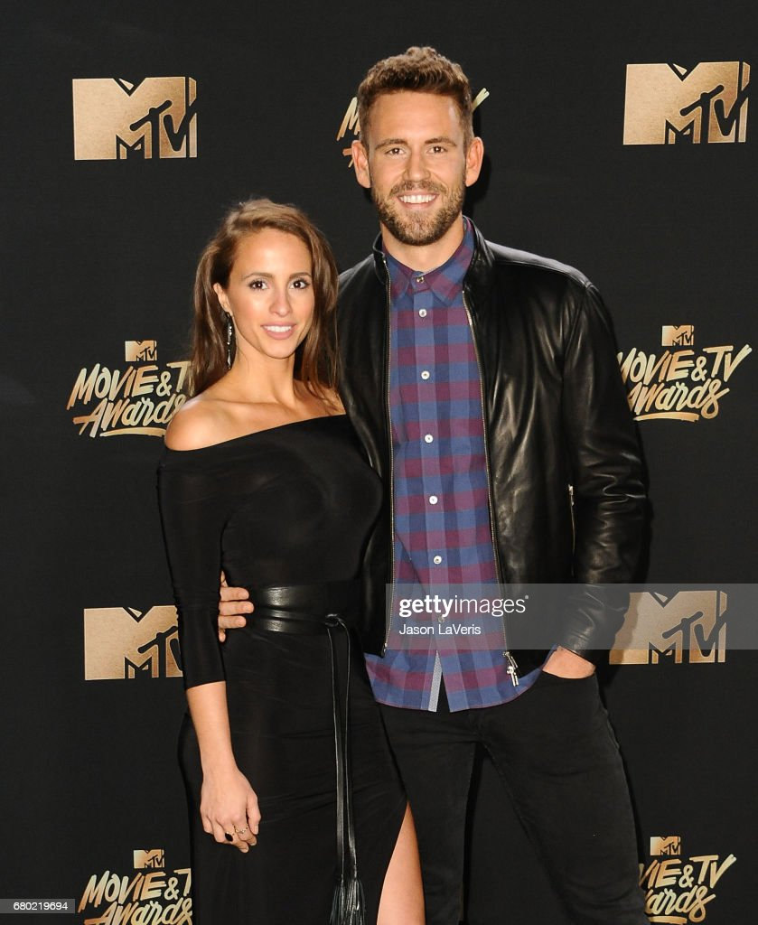 Vanessa Grimaldi and Nick Viall pose in the press room at the 2017 MTV Movie and TV Awards at The Shrine Auditorium on May 7, 2017 in Los Angeles, California.