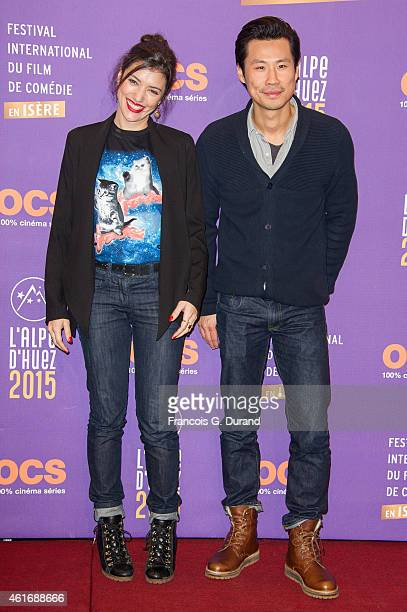Vanessa Guide and Frederic Chau pose before the closing ceremony of the 18th L'Alpe D'Huez International Comedy Film Festival in l'Alpe d'Huez France