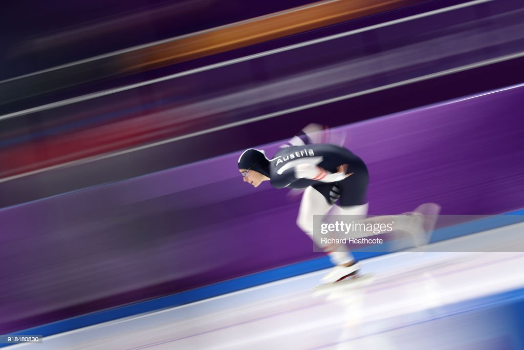 Vanessa Herzog of Austria competes during the Ladies' 1000m Speed Skating on day five of the PyeongChang 2018 Winter Olympics at Gangneung Oval on February 14, 2018 in Gangneung, South Korea.
