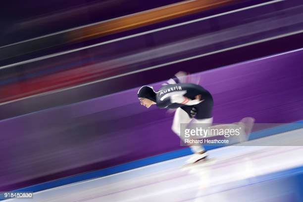 Vanessa Herzog of Austria competes during the Ladies' 1000m Speed Skating on day five of the PyeongChang 2018 Winter Olympics at Gangneung Oval on...