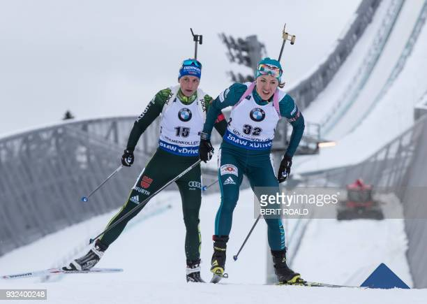 Vanessa Hinz from Germany and Yuliia Dzhima from Ukraine compete in the IBU World Cup Biathlon Women 75 km Sprint Competition in Holmenkollen Oslo on...