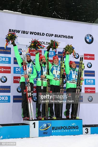 Vanessa Hinz, Maren Hammerschmidt, Franziska Preuss, Laura Dahlmeier of Germany take 1st place during the IBU Biathlon World Cup Women's Relay on...