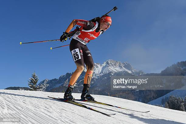 Vanessa Hinz of Germany competes during the women's 75 km sprint event during the IBU Biathlon World Cup on December 12 2014 in Hochfilzen Austria